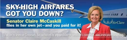 airclairebillboardv2 MO Sen: McCaskill 43% Vs. Steelman 42%, McCaskill 45% Vs. Akin 43%