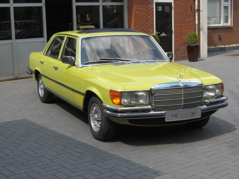 car mercedes benz w116 280 se mimosa yellow. Black Bedroom Furniture Sets. Home Design Ideas